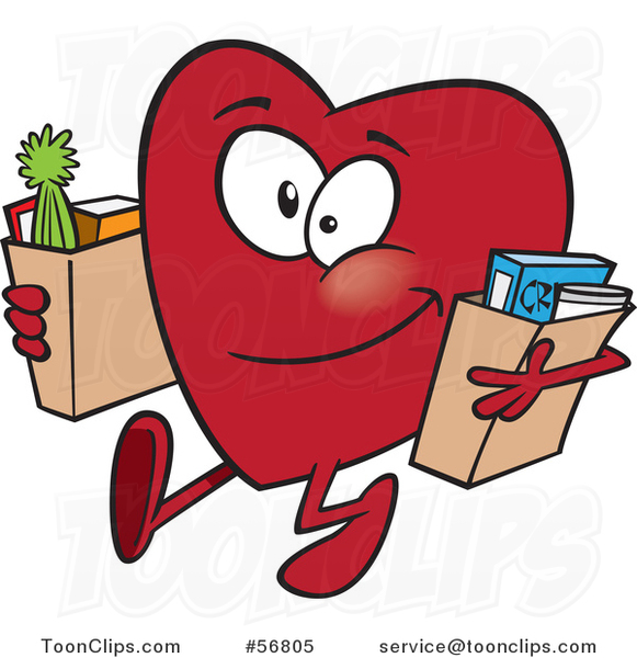 Cartoon Giving Heart Character Carrying Bags of Groceries to Donate