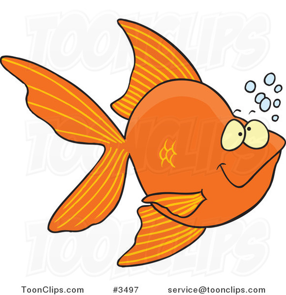 Cartoon Goldfish with Bubbles