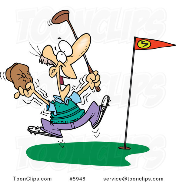 Cartoon Golfer Celebrating a Hole in One