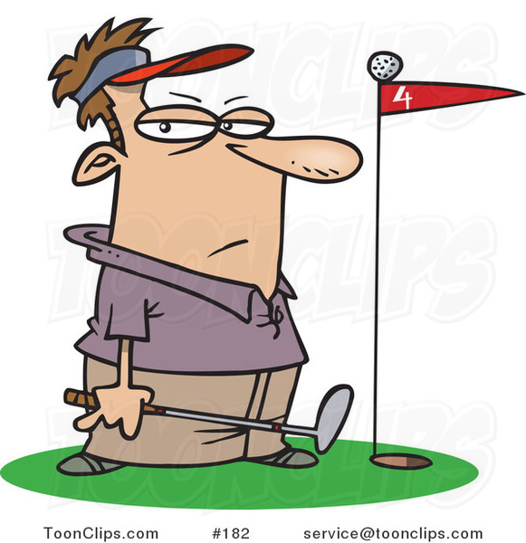 Cartoon Golfer Standing by a Golf Ball on Top of a Red Flag
