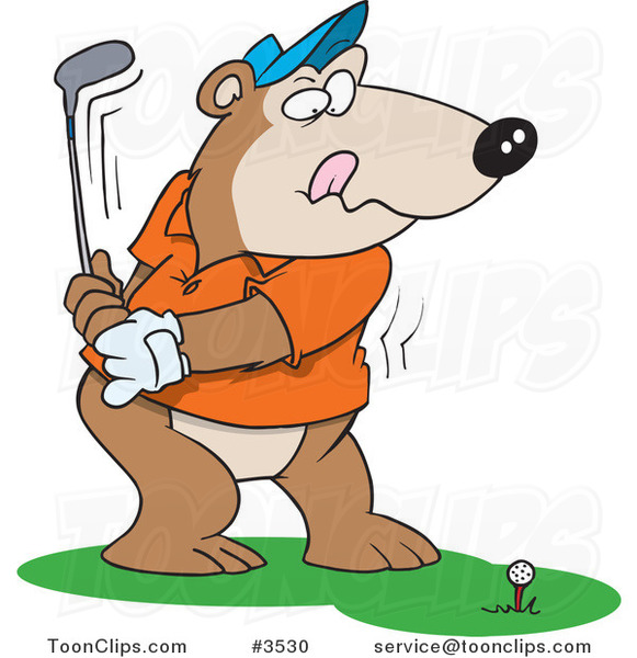 Cartoon Golfing Bear