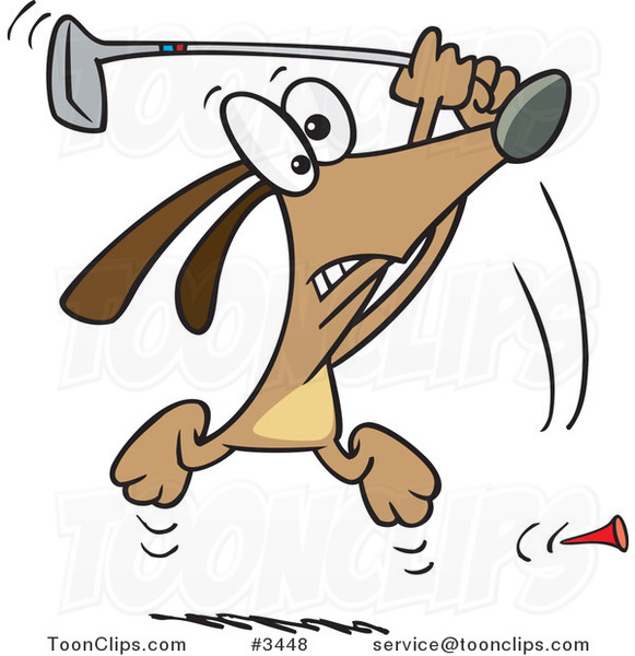 Cartoon Golfing Dog