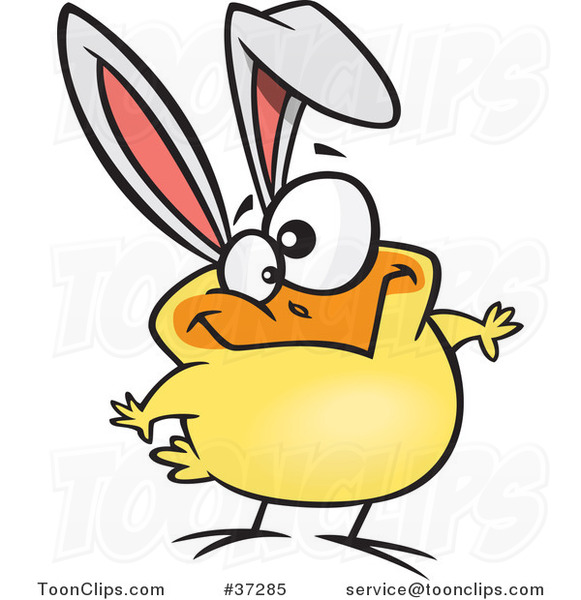 Cartoon Goofy Yellow Easter Chick with Bunny Ears #37285 by Ron Leishman