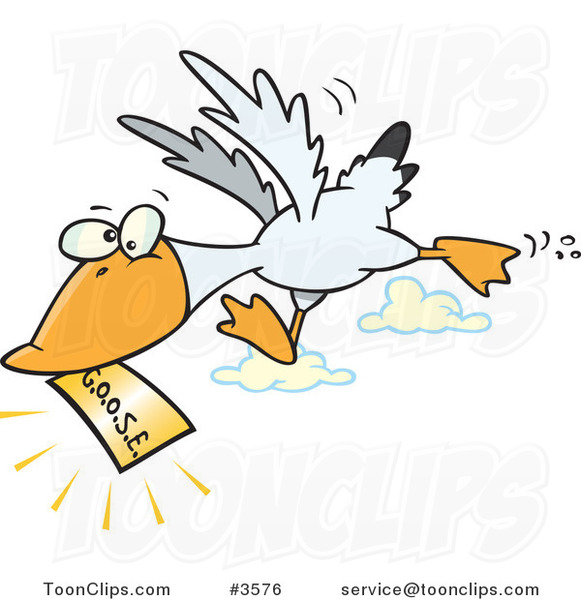 Cartoon Goose Flying with a Golden Ticket #3576 by Ron ...