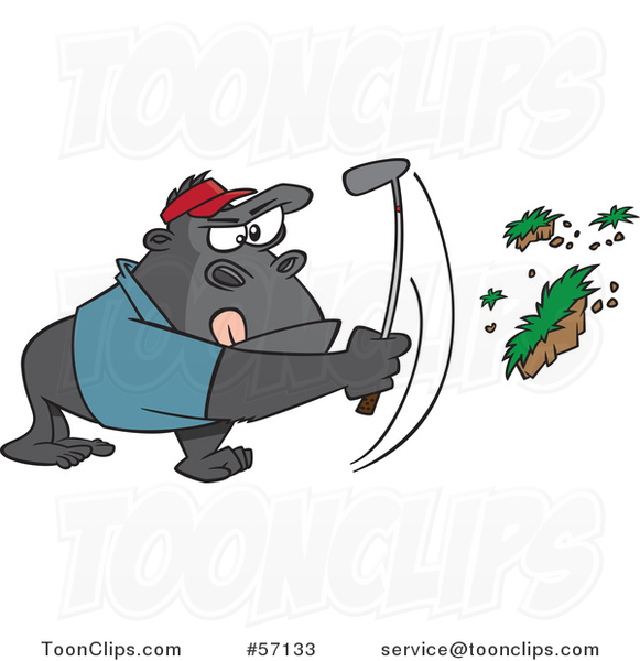 Cartoon Gorilla Golfer Swinging and Pulling up Grass