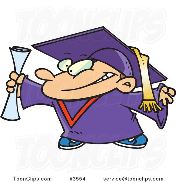 Cartoon Graduate Boy Holding His Certificate