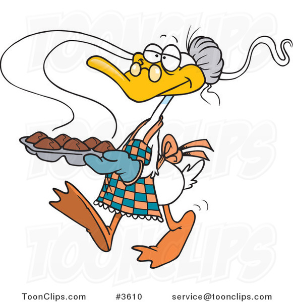 Cartoon Granny Duck Carrying Muffins