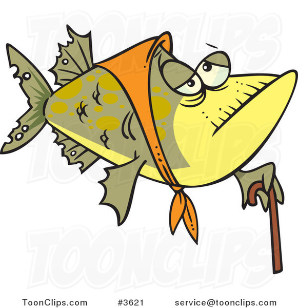 Cartoon Granny Fish with a Cane