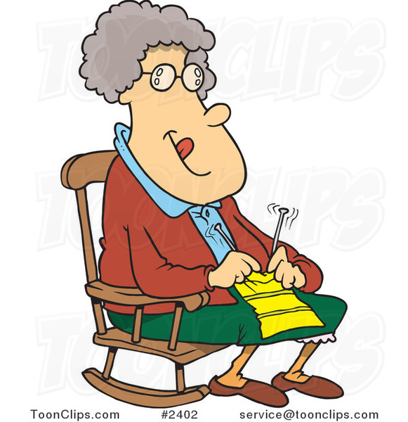 Cartoon granny knitting in a rocking chair by ron