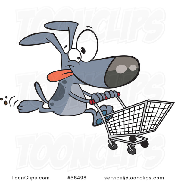 Cartoon Gray Dog Running with a Shopping Cart