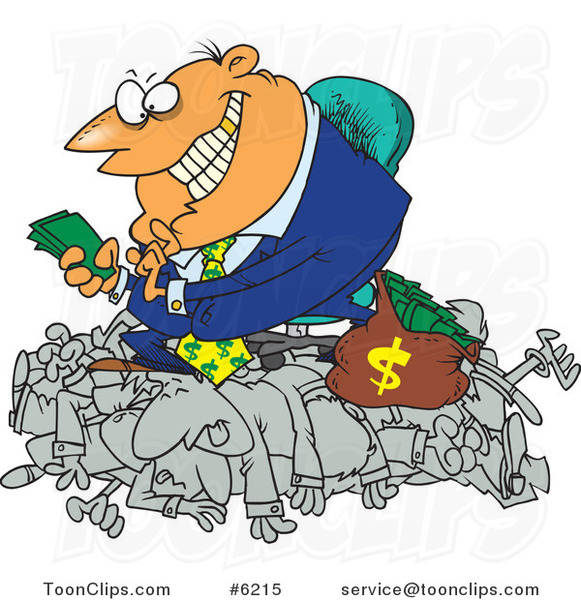 Cartoon Greedy Manager Counting His Money and Sitting on His Employees