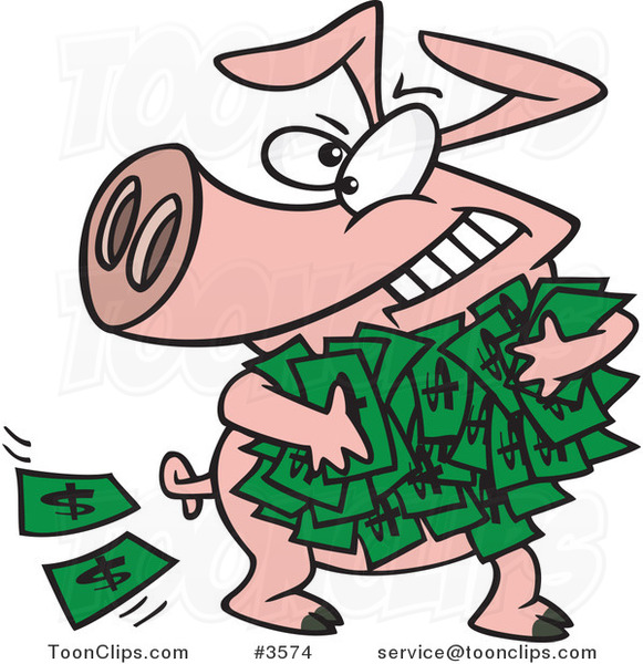 Cartoon Greedy Pig With Money 3574 By Ron Leishman