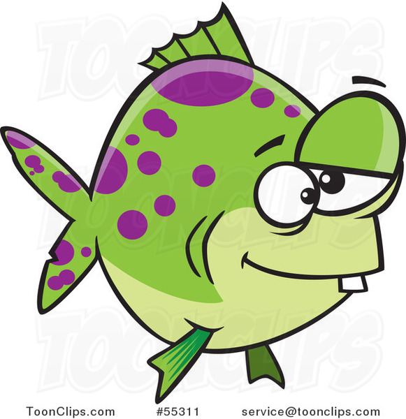 Cartoon Green and Purple Spotted Dopey Fish