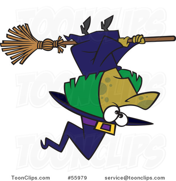 Cartoon Green Halloween Witch Flying Upside Down 55979 By