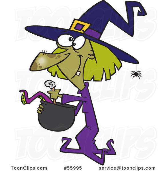Cartoon Green Halloween Witch Making Soup