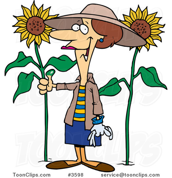 Lady With Birds >> Cartoon Green Thumb Lady in Her Sunflower Gardener #3598 by Ron Leishman