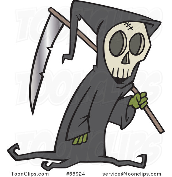 Cartoon Grim Reaper Carrying a Scythe over His Shoulder
