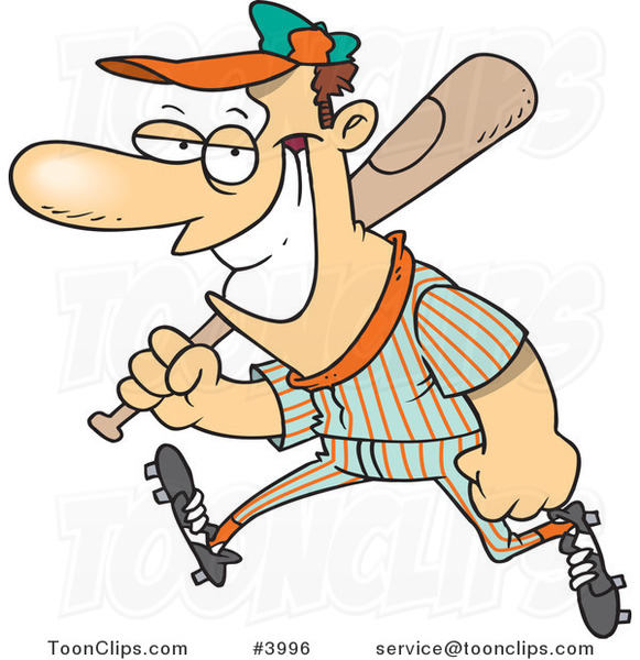 Cartoon Grinning Baseball Player