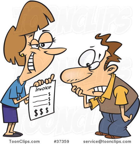 Cartoon Grinning Lady Presenting Her Client with a Billing Invoice