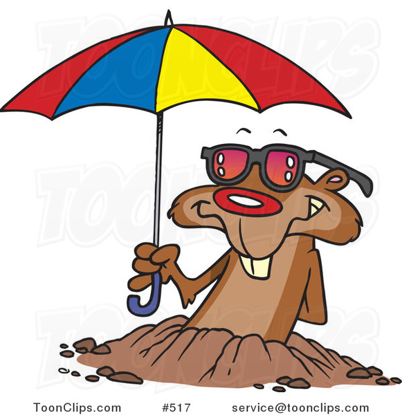 Cartoon Groundhog Emerging with Shades and an Umbrella