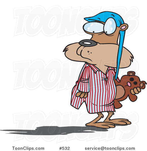 Cartoon Groundhog in Pajamas, Looking at His Shadow