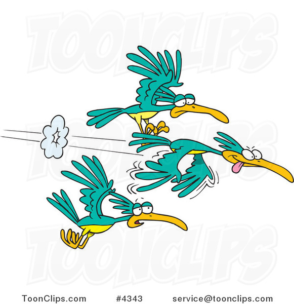 Cartoon Group of Fast Birds #4343 by Ron Leishman