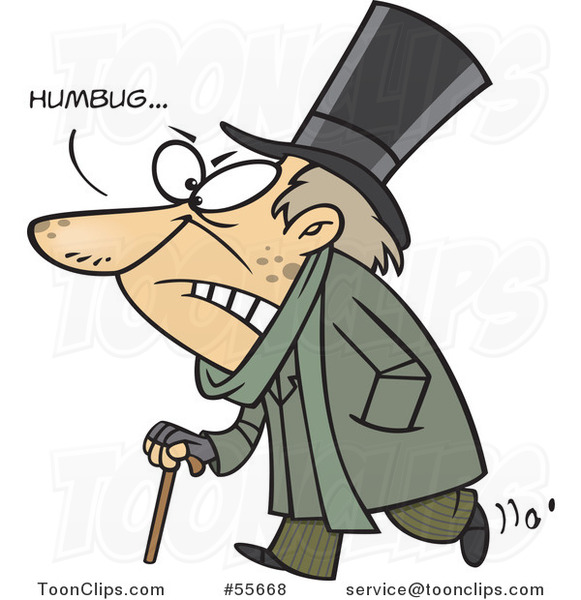 Cartoon Grumpy Scrooge Saying Humbug