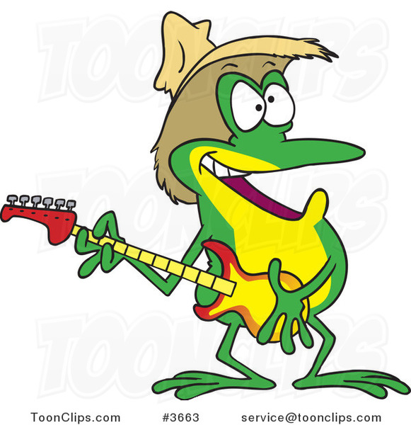 Cartoon Guitarist Frog Wearing a Straw Hat