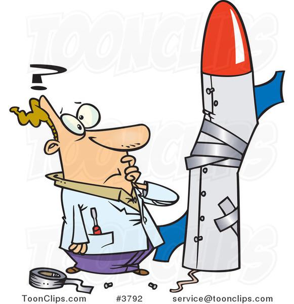 Cartoon Guy Building a Bad Rocket #3792 by Ron Leishman