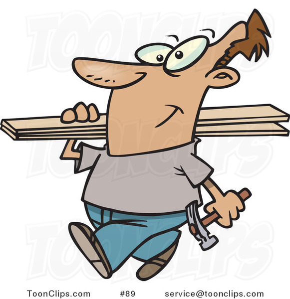 Cartoon Guy Carrying a Hammer and Fence Boards