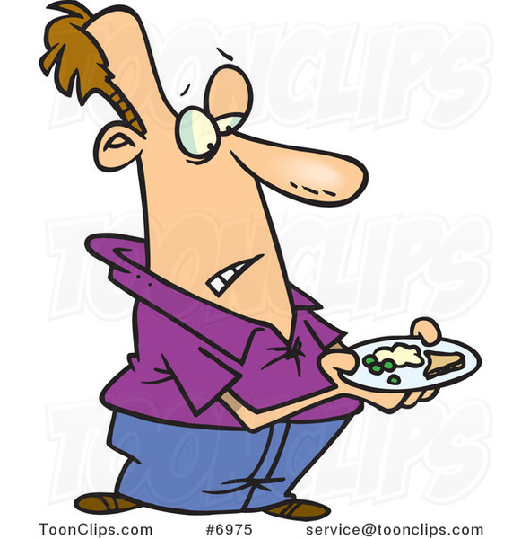 Cartoon Guy Carrying a Meager Dinner Plate