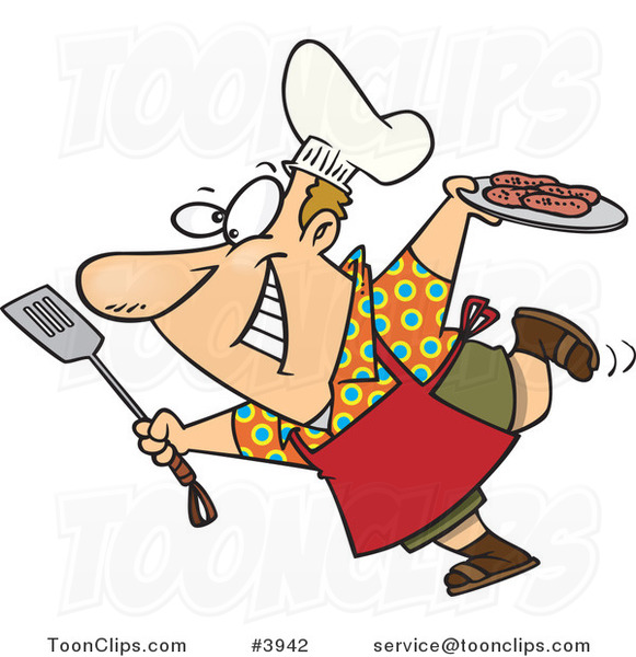 Cartoon Guy Carrying a Plate of Food to His Bbq