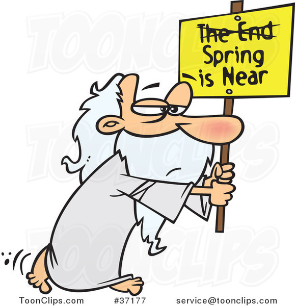 Cartoon Guy Carrying a Spring Is near Sign with the End Crossed out