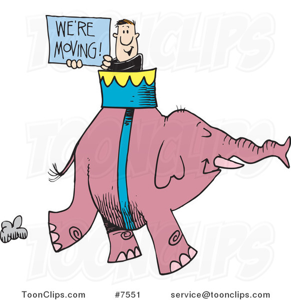 Cartoon Guy Carrying a We're Moving Sign on an Elephant