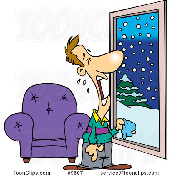 Cartoon Guy Crying at a Snowy Window