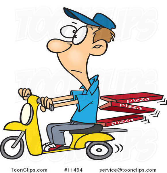 Cartoon Guy Delivering Pizza on a Scooter
