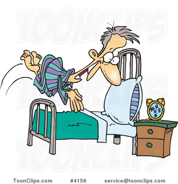 Cartoon Guy Diving Into Bed 4156 By Ron Leishman