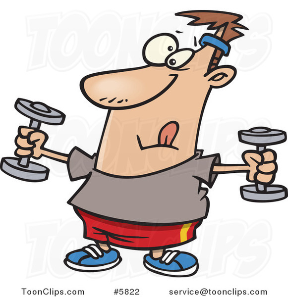 Cartoon Guy Exercising with Dumbbells
