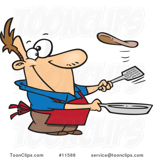 Cartoon Guy Flipping a Flapjack