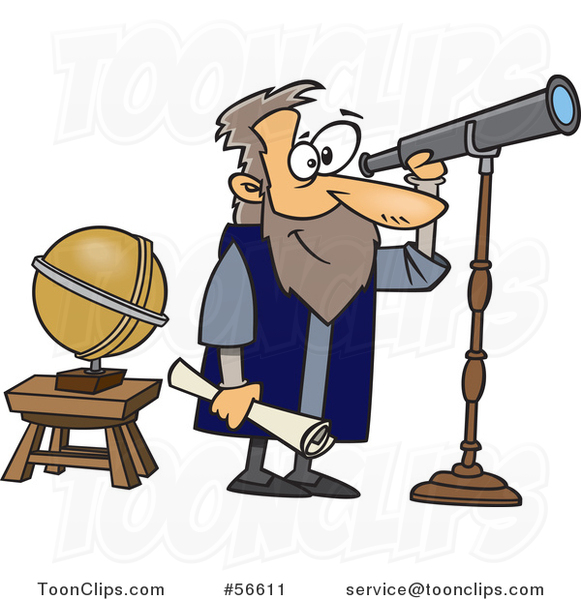 Cartoon Guy Gallileo Looking Through A Telescope 56611 By Ron Leishman