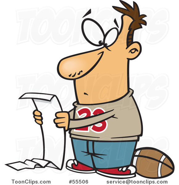 Cartoon Guy Going over a Long Honey Do List but Wanting to Play Football