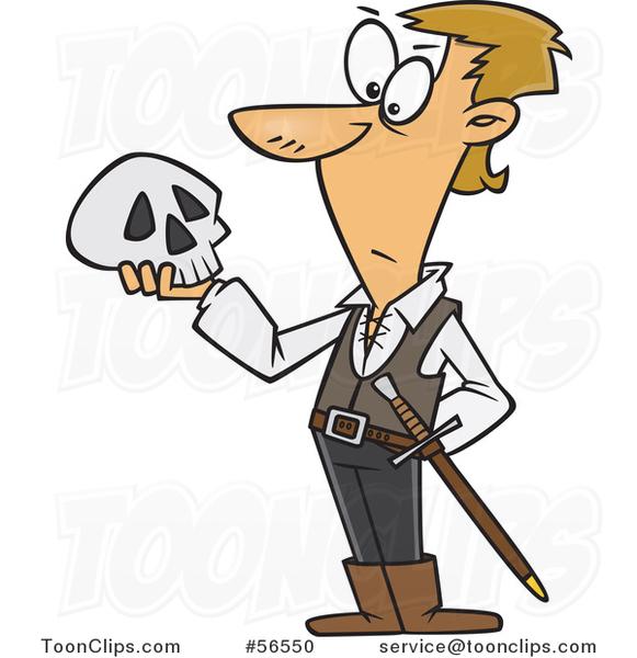 Cartoon Guy Hamlet Holding A Skull 56550 By Ron Leishman