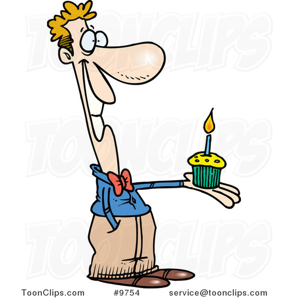 Cartoon Guy Holding a Birthday Cupcake