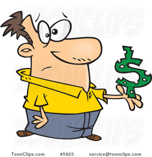 Cartoon Guy Holding a Dollar Symbol with Holes