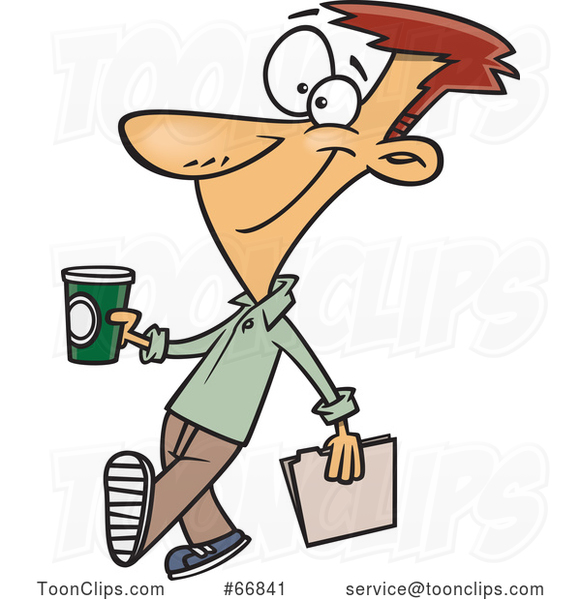 Cartoon Guy Holding a to Go Coffee on Casual Friday