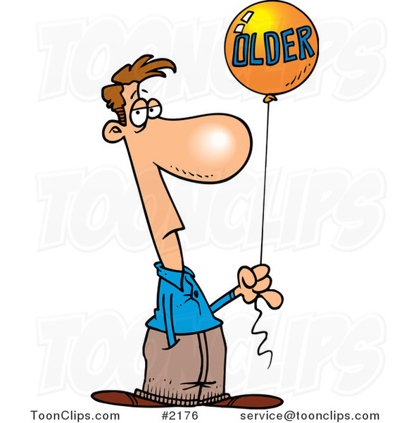 Cartoon Guy Holding an Older Birthday Balloon