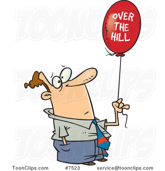 Cartoon Guy Holding an over the Hill Balloon