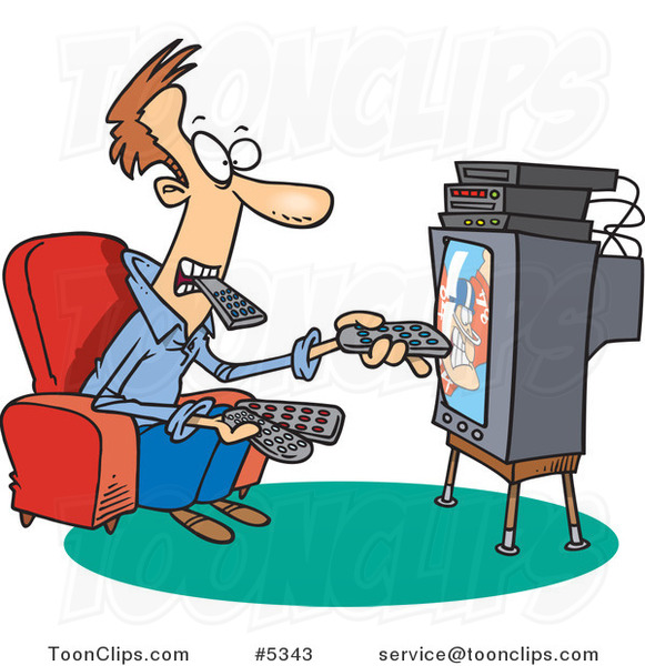 Cartoon Guy Holding Many Remotes and Watching Tv