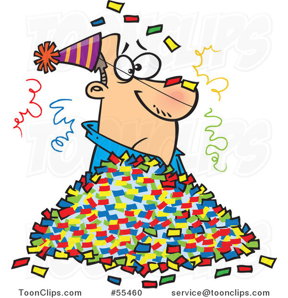 Cartoon Guy in a Pile of Party Confetti