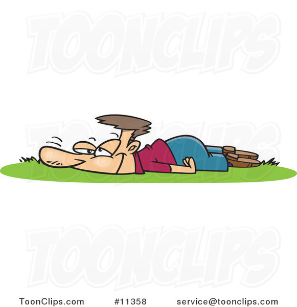 Cartoon Guy Laying in Fresh Grass